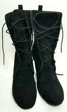 Ginger Goff Womens Black Suede Lace Up Wedge Boots Size 7 Original Price $199