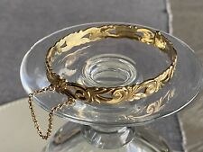 9ct Rolled Gold Vintage Bangle bracelet Hallmarked Immaculate Hinged Chain