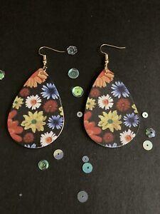 Vintage Style Dangly Dark Floral Faux Leather Teardrop Earrings Womens Jewellery