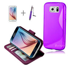 Purple Wallet 4in1 Accessory Bundle Kit S TPU Case for Samsung Galaxy S6 Edge