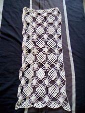 rideau ancien au crochet en coton écru 32 x 77 cm
