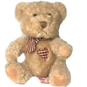 "Russ True Heart Brown Teddy Bear Plush Plaid Heart Patch Gingham Bow 6"" Tall"
