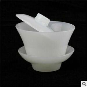 China handmade jade carving Natural White Jade Cover a bowl jade pots tea cup