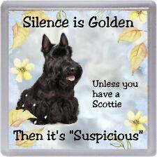 "Scottish Terrier / Scottie Dog Coaster ""Silence is Golden  ...."" by Starprint"