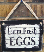 Farm Fresh Eggs Hanging Sign Plaque Wooden Farmhouse Primitive Rustic