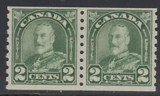 """Canada #180 2¢ King George V """"Arch / Leaf"""" Coil Pair Mint Never Hinged - E"""