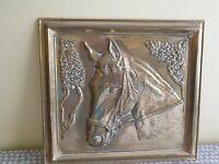 "Vintage ""Framed"" Wall Hanging Brass Horse Head."