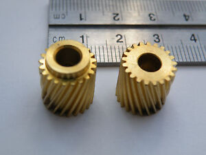 m0.5 z21 Copper Helical gears, Left and Right-Handed, 4.98mm Bore, 21 teeth