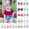 Big Bow Headband Girls Elastic Printed Knotted Nylon Hairband Toddler Fashion