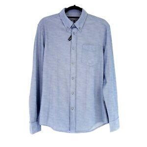 Drykorn Herren Hemd Keven Größe M Baumwolle Blau Polyester Brusttasche Np 90 Neu