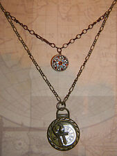 Steampunk Necklace Pocket Watch Shape Pendant Love Birds Button Figaro Chain