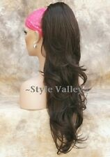 Medium Brown Ponytail Hairpiece Extension Extra LONG WAVY Clip on Hair Piece  #6