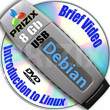Debian 8 on 8gb USB Stick Flash Drive and Complete 3-disc Set, 32 and 64-bit