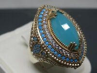 Turkish Handmade Jewelry 925 Sterling Silver Chalcedony Stone Women Ring Sz 9