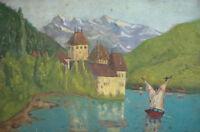 Antique European fauvism oil painting landscape lake