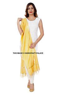 Indian Art Silk Woven Chanderi Long Stole Banarasi Dupatta Shawl Yellow Plain