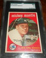 1959 TOPPS #10 ⚡️⚡️MICKEY MANTLE ⚡️⚡️SGC  60/ PSA 5 ⚡️⚡️EXCELLENT