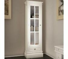 New Hand Crafted Shabby Chic Vintage White Wooden Glass Bookcase Display Cabinet