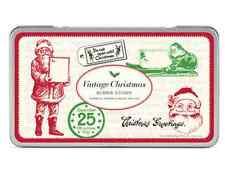 NEW Cavallini & Co VINTAGE CHRISTMAS Wooden Rubber Stamps SET+Black Ink Pad Tin
