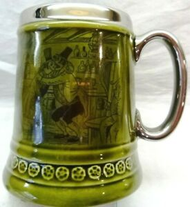 "Vintage Princess House-Beer Stein Mug, 5"" Tall, Silver-Tone Trim-Made in England"