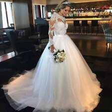 Elegant White/ivory Long Sleeve Wedding dress Ball Gown/Duchess Custom UK Size