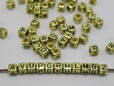 250 Assorted Golden Metallic Acrylic Alphabet Letter Cube Pony Beads 6X6mm