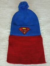 Superman Knit Hat With Cape Beanie Blue Red Snowboard Ski Adult Unisex OS NWT