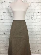M&S A-Line Skirt Patterned Part Wool Smart Brown Fawn Size UK 12 US 8