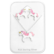 New Girls Ladies 925 Sterling Silver Necklace and Earring Set Pink Unicorn