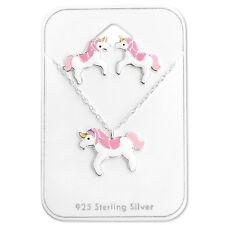 Nuevo Niñas señoras plata esterlina 925 collar y pendiente conjunto Unicornio Rosa