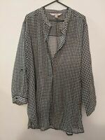 Avella Women's Top Size 24 Blouse Black White Check Long Sleeve Plus Size Sheer