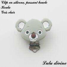Pince / Clip en silicone, attache tétine, passant boucle, Koala : Gris clair