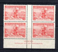 1936 ***MUH*** 2d Scarlet CABLES - GUTTER BLOCK of 4 with JOHN ASH Imprint