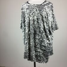 Maggie Barnes 3X Knit Top Black White Animal Print Tiered Short Sleeve