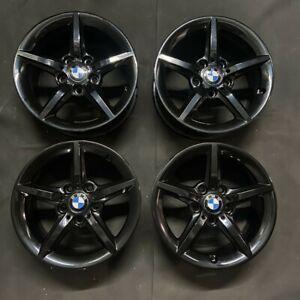 """Genuine BMW 654 16"""" Alloy Wheels GLOSS BLACK E36 E85 E86 E87 E46 E90 E91 E92 E93"""