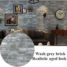Realistic Brick Optic Wash Grey Brick Wallpaper Textured Rustic Aged Vintage