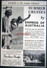 1937 Canadian Pacific 'Empress of Australia' Cruises ADVERT: Small Deco Print Ad