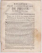 Relation de la campagne du Roi de Prusse. Liste des Officiers Autrichiens. 1745
