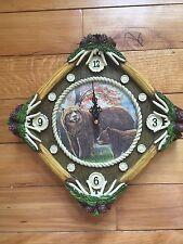 Northwoods Woodland Bear Wall Clock Antler Evergreen Cabin Lodge Wall Clock