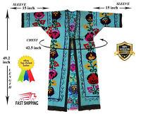 Blue Vintage Hand Embroidery Uzbek Suzani Jacket Robe Dress SALE WAS $100.00