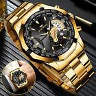FNGEEN Waterproof Gold Mens Watch Classic Stainless Steel Quartz Business Gift