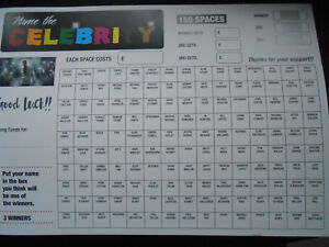 NAME THE CELEBRITY SCRATCH CARDS 150 SPACES = 3 WINNERS- RAISE FUNDS X 1 CARD