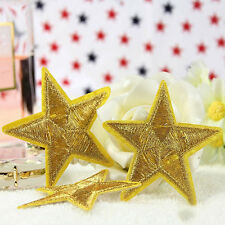 2x Golden STAR embroidered applique iron on patch badge motif DIY Sewing 5cm