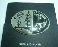 Corn Stalk Rain Cloud Moon Pin Vintage New Sterling Silver Overlay Kokopelli