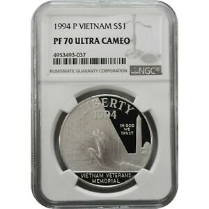 1994-P Vietnam Veterans Memorial Commemorative Proof Silver Dollar Coin NGC PF70