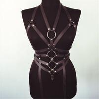 Corps de harnais gothique cuir avec ceinture sexy en PU avec ceinture   8