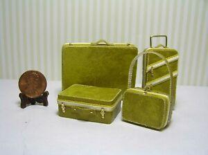 Miniature Dollhouse 4 Pc Luggage / Straw leather-like w/ yello & cream trim 1:12
