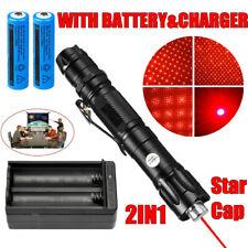 New listing 900miles Bright Red Laser Pointer Pen 650nm Astronomy Beam+Star Cap+Batt+Charger