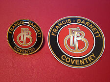FRANCIS BARNETT, COVENTRY.  GOLD PLATED BADGE & sticker