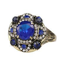 Gold Blue Stones Big Front Flower Women Finger Medium size O 17 mm Ring FR276